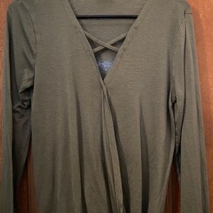 Army Green Thin V-Neck Blouse